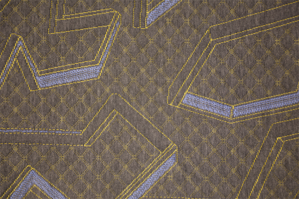 Blue yellow geometric hemp gray knitted air layer